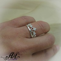 """Сребърен дамски пръстен """"Корона"""" R-706"""