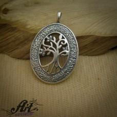 """Сребърен медальон  """"Дървото на живота"""" P-0683"""