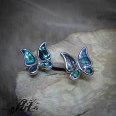 "Сребърни обеци с цветен седеф ""Пеперуда""- E-908"
