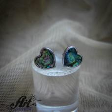 """Сребърни обеци с цветен седеф """"Сърце"""" - E-909"""