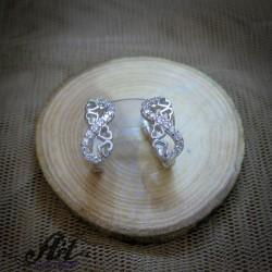 Сребърни обеци с цирконий  -  E-915
