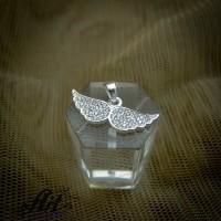 """Сребърен медальон с цирконий """"Ангелско крило"""" P-702"""