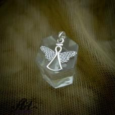 """Сребърен медальон с цирконий """"Ангелче"""" P-715"""