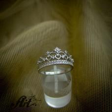 """Сребърен дамски пръстен """"Корона"""" R-726"""