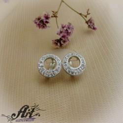 Сребърни обеци с камъни Swarovski - E-061