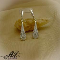 Сребърни обеци с камъни Swarovski - E-126