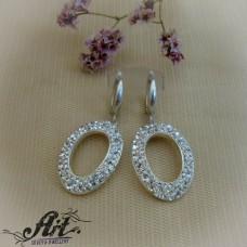 Сребърни обеци с камъни Swarovski - E-942