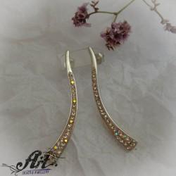 Сребърни обеци с камъни Swarovski - E-953