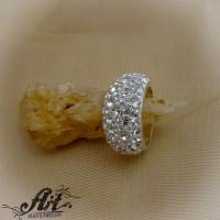 Сребърен дамски пръстен с камъни Swarovski R-248