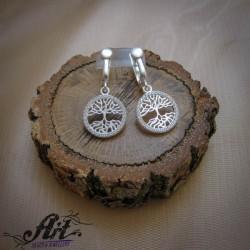 """Сребърни обеци с цирконий """"Дървото на живота - Е-970"""