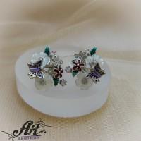 """Сребърни обеци с емайл и седеф """"Пеперуда""""- E-976"""