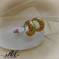 Сребърни обеци с цветен емайл