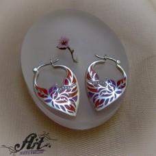 """Сребърни обеци с цветен емайл """"Цвете""""- E-982"""