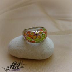 """Сребърен пръстен с  емайл """"Цвете"""" R-819"""
