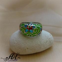 """Сребърен пръстен с  емайл """"Цвете"""" R-820"""
