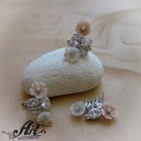 """Сребърен комплект """"Седефени цветя"""" S-306"""