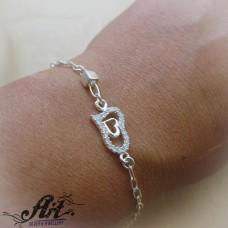 """Сребърна  гривна с циркони """"Сърце"""" B-417"""