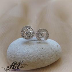 Сребърни обеци с цирконий  - E-1024