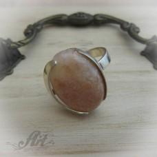 """Сребърен пръстен с естествен камък """"Розов мъхов ахат"""" R-409"""