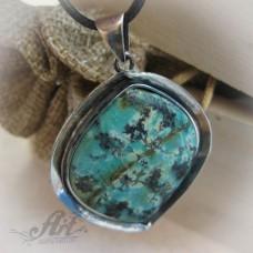 """Сребърен медальон с естествен камък """" Тюркоаз"""" P-085"""