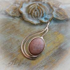 """Сребърен медальон с естествен камък """" Розов ахат"""" P-086"""