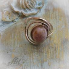 """Сребърен пръстен с естествен камък """"Розов ахат"""" R-411"""