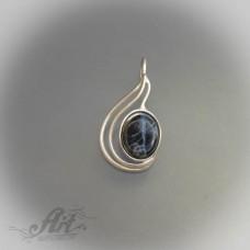 """Сребърен медальон с естествен камък """" Син кварц"""" P-087"""