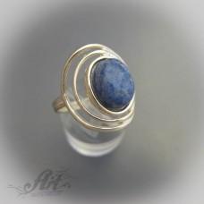 """Сребърен пръстен с естествен камък """"Светло син мъхов ахат"""" R-414"""