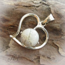 """Сребърен медальон с естествен камък """" Вогесит"""" P-093"""