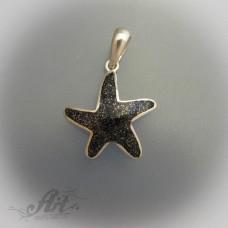"""Сребърен медальон с естествен камък """" Морска звезда"""""""