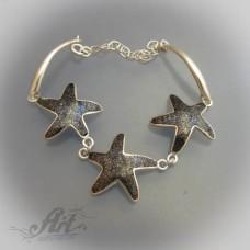 """Сребърна гривна с естествени камъни """" Звезди"""" B-023"""