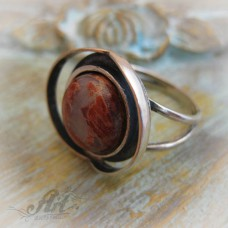 """Сребърен пръстен с естествен камък """"Мъхов ахат"""" R-407"""