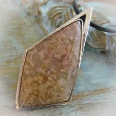 """Сребърен медальон с естествен камък """" Розов ахат"""" P-099"""