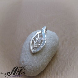 "Сребърен медальон с бял седеф ""Листо""  P-915"