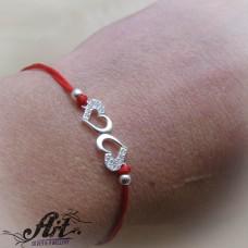 """Гривна с червен конец и сребро """"Сърце"""" B-471"""