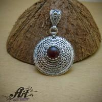 """Сребърен медальон с естествен камък """"Ахат"""" P-977"""