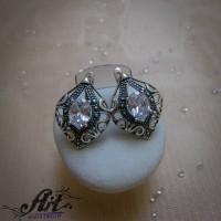 Сребърни обеци с циркони  -  E-1202