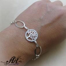 """Сребърна гривна с циркони """"Дървото на живота"""" B-513"""