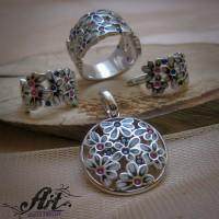 """Дамски сребърен комплект с емайл """" Цвете"""" S-392"""