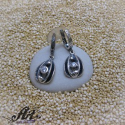 Сребърни дамски обеци с циркони E-1227