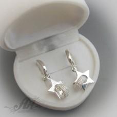 Сребърни обеци с цирконий - Е-388