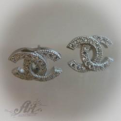 Сребърни обеци с цирконий - E-457