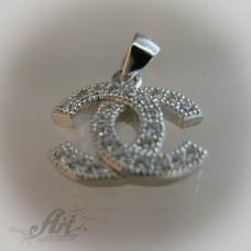 "Сребърен медальон с цирконий "" Шанел"" P-108"