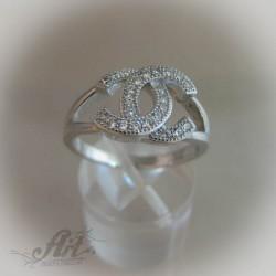 """Сребърен дамски пръстен с цирконий """" Шанел"""" R-429"""