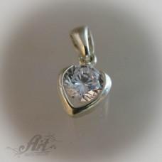 """Сребърен медальон с цирконий """" Сърце"""" P-111"""