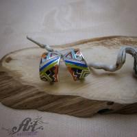 Сребърни обеци с цветен емайл - E-12571