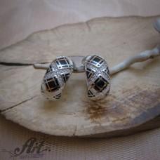 Сребърни обеци с цветен емайл- E-12601