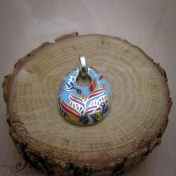 Сребърен медальон с цветен емайл P-1120