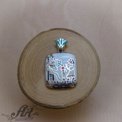 Сребърен медальон с цветен емайл P-1124