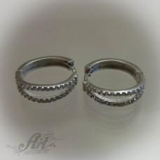 Сребърни обеци с цирконий - E-415